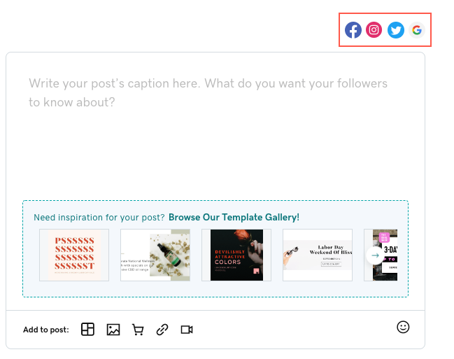 A screenshot of the social media composer with Instagram as a new option