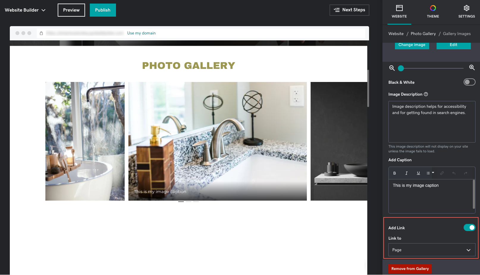 How to link a photo gallery image