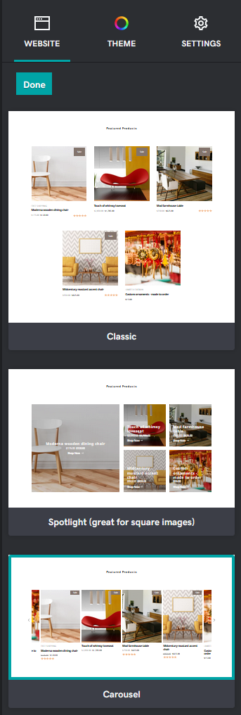 A screenshot of the new featured products carousel section