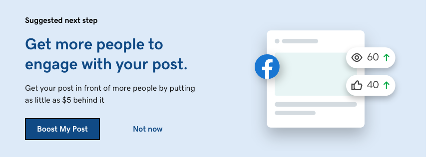 What you see when you publish a social media post that encourages you to boost your post