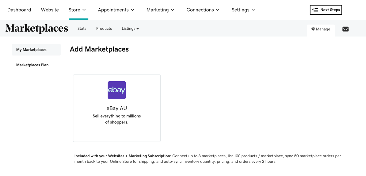 Screenshot of Marketplaces in Australia (but also works for Great Britain) with eBay. Amazon coming soon.