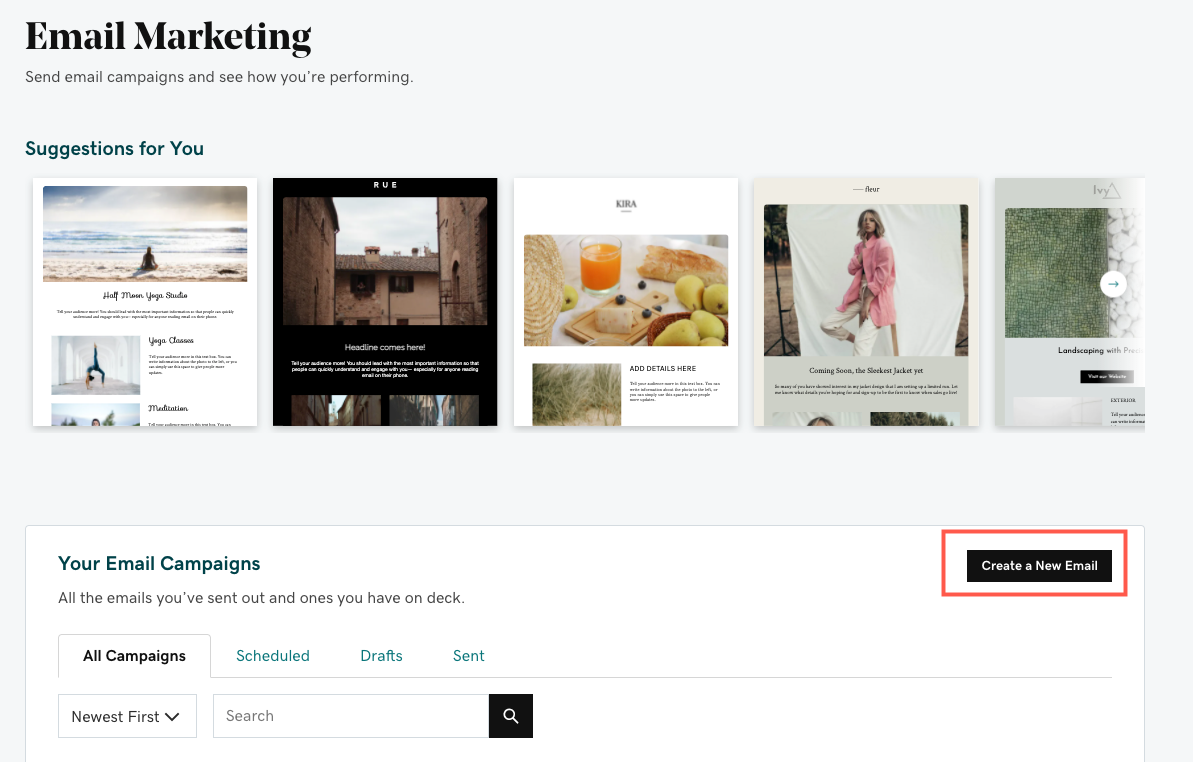 On your Email Marketing home page, select Create a New Email