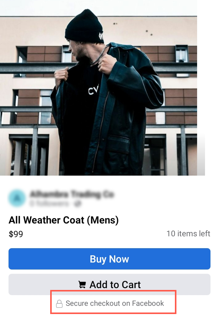 Example of a shoppable Facebook post that allows customers to check out without leaving Facebook