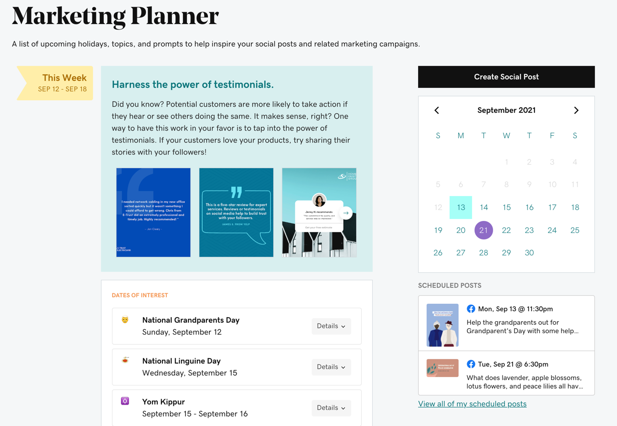 Screenshot of the Marketing Planner calendar, scheduled posts, etc.
