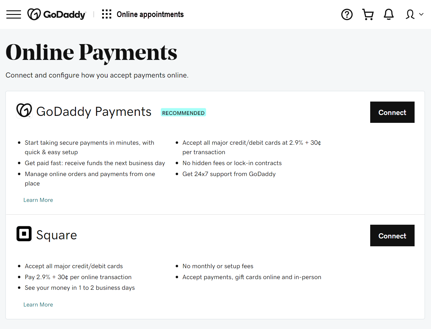 Screenshot of where you add payments for online appointments