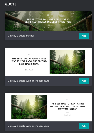 Screenshot what the new quote section looks like.