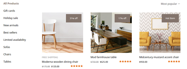 Screenshot of images showing in an online store with labels like 31% off or Hot Item. These labels are a result of the smart ribbon.