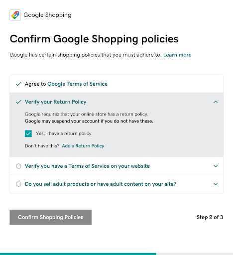 Screenshot showing the Google shopping policies to reinforce what you need on your site to connect to Google.