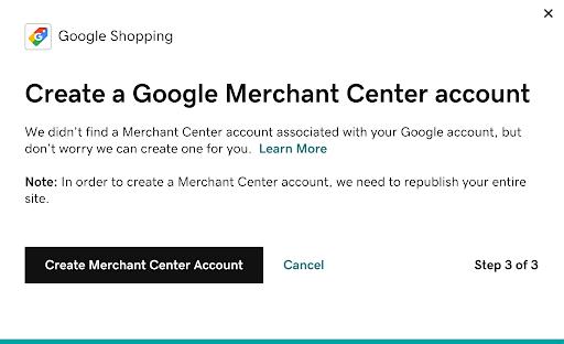 Screenshot showing the Create Merchant Center Account button.