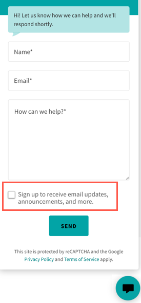 Screenshot of a messaging button box with the email signup box outlined in red