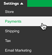 select payments from settings menu