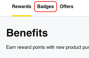 select Badges to choose a member badge