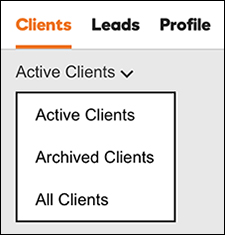 Klikk på Archived Clients (Arkiverte kunder) for å se den listen.