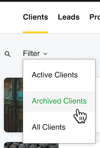 select archived clients