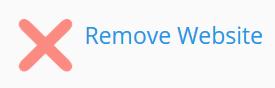 Clique em remover site web