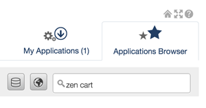 Enter zen cart in the Search for applications field