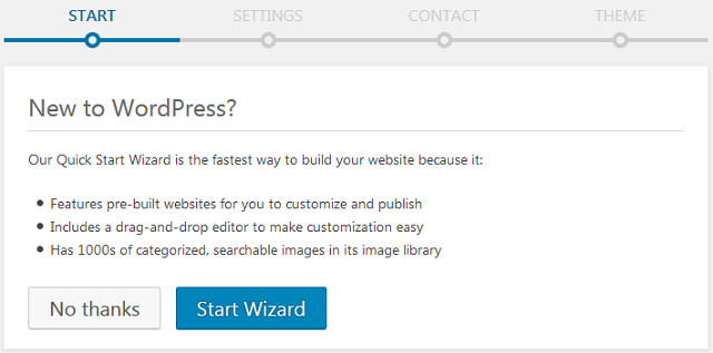 WordPress setup wizard