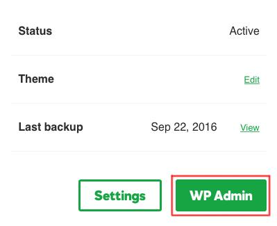 Klicken Sie auf WP-Admin.