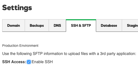 click the SSH & SFTP tab