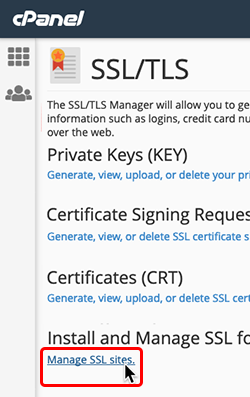 click manage SSL sites