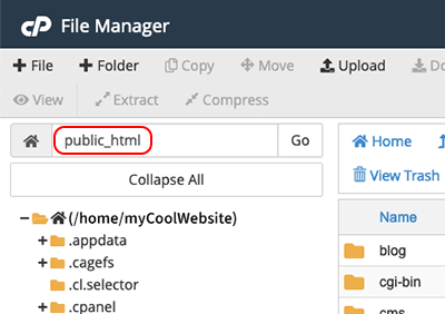 upload directory in File Manager