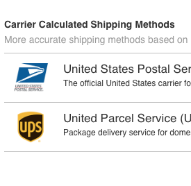 Select Carrier Calculated Shipping method
