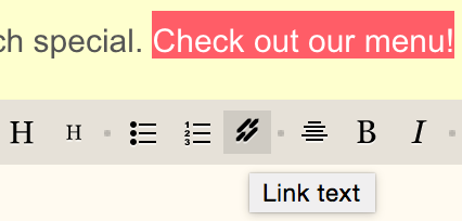 Highlight text to add link.