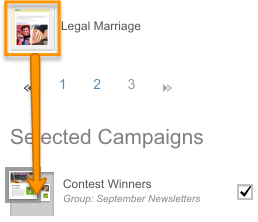 Drag campaign thumbnail on top of campaign in Selected Campaigns.