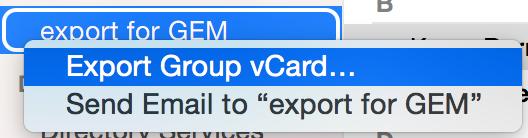 Wählen Sie Exportieren aus dem alternativen Klickmenü der Gruppe.