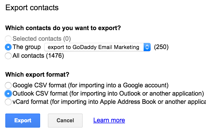 Gmail contacts export options.