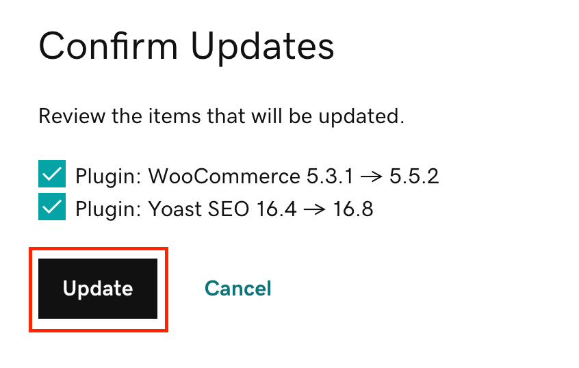 Кнопка Update (Обновить)