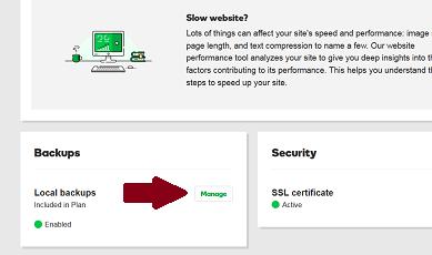Managed WordPress Manage Backups