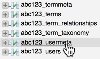 select usermeta