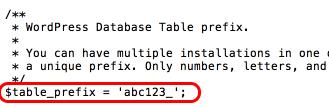 edytować prefiks tabeli