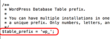 find table prefix line