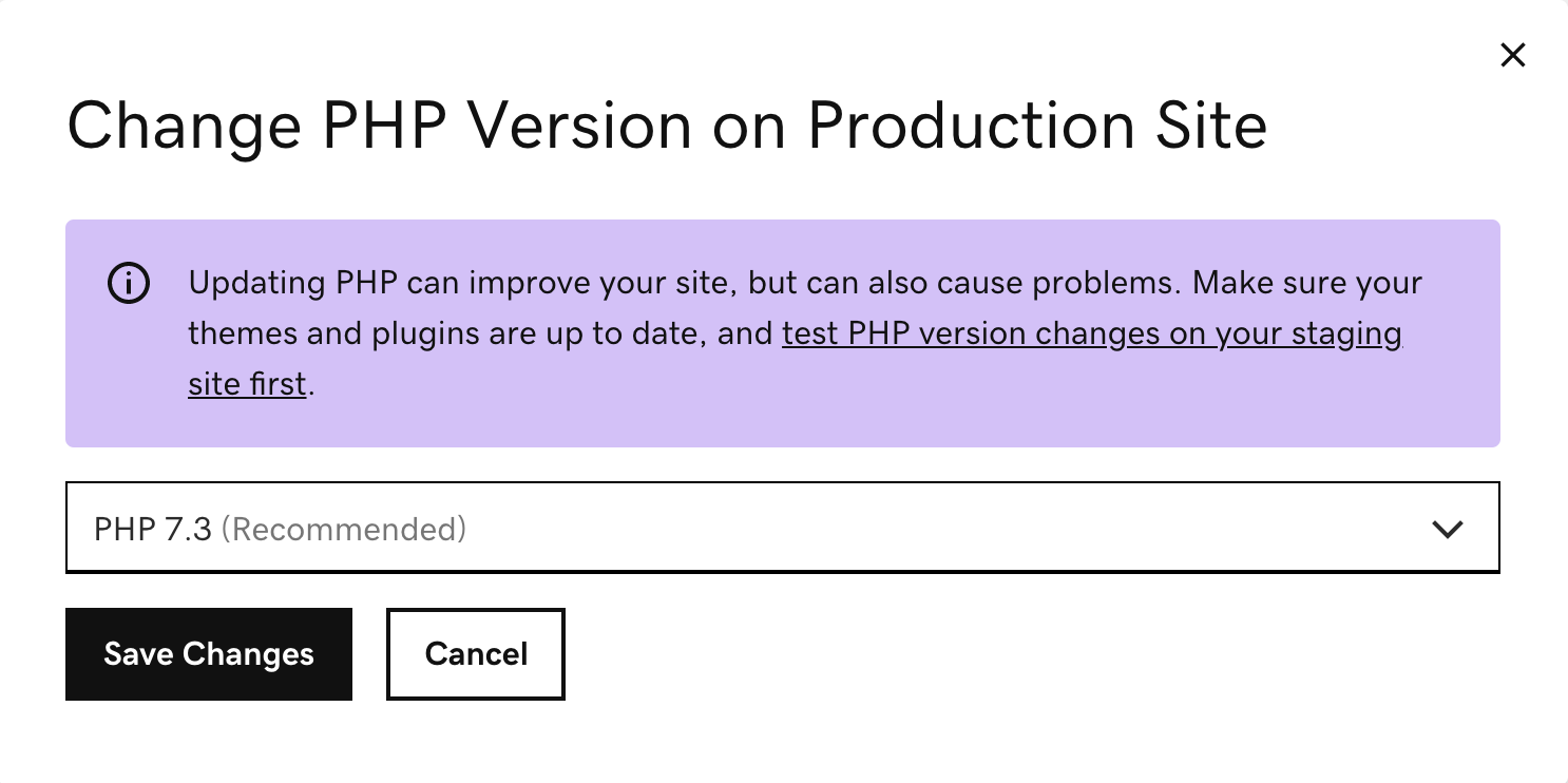 select the PHP version