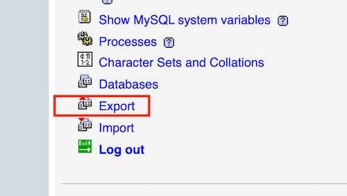 find og vælg eksport