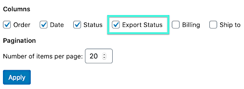 how to deactive the customer/order/coupons export status from the WooCommerce orders and/or users page