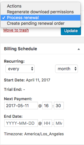 WooCommerce memberships process renewal