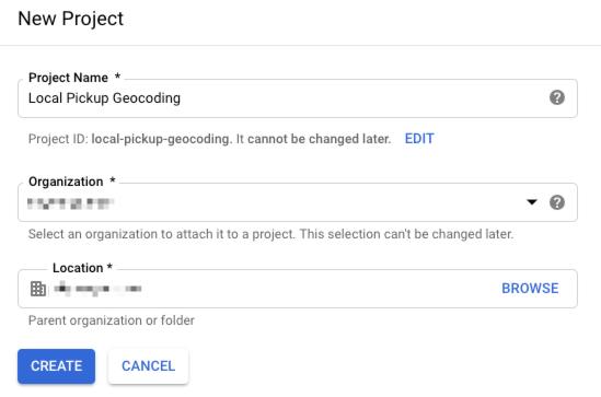 Create new Google API Project