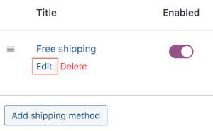 free shipping method edit