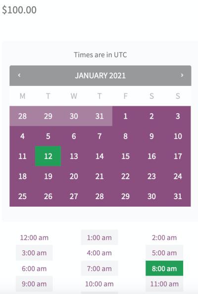 Zdjęcie kalendarza rezerwacji na stronie produktu