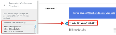 Customize Checkout Add-ons display settings