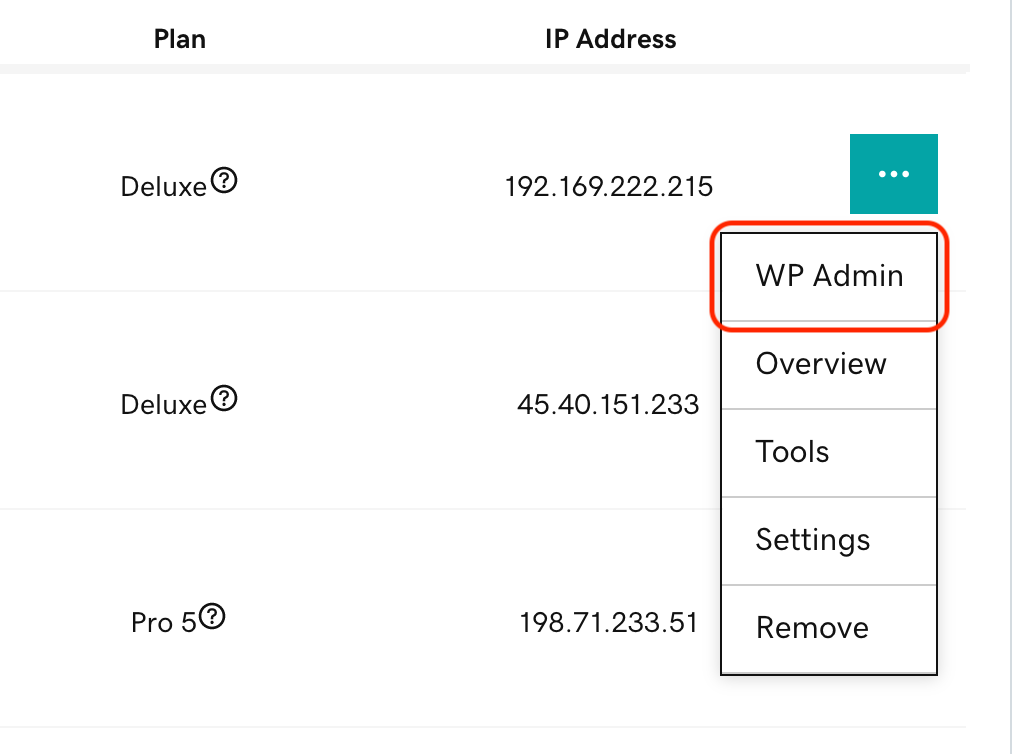 wp-admin on site options menu
