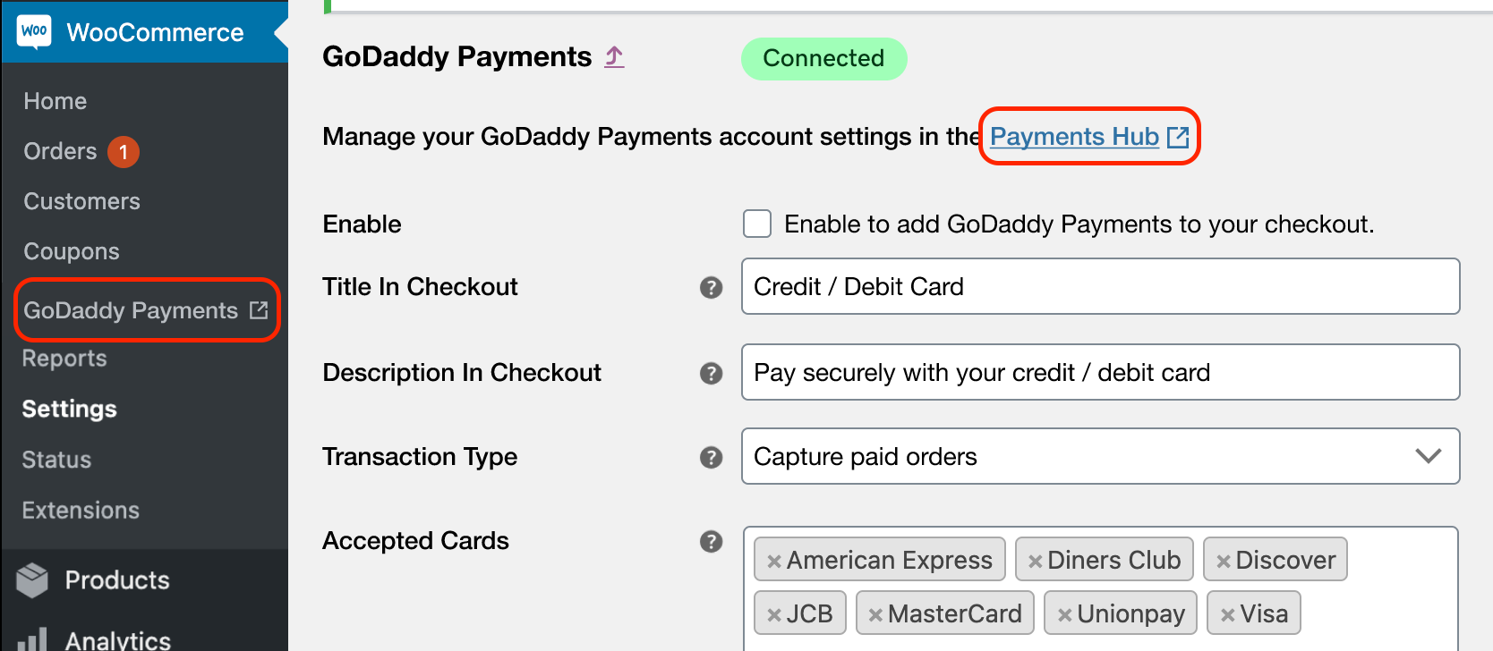log in to GoDaddy Payments Hub