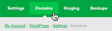 klik op het tabblad domeinen