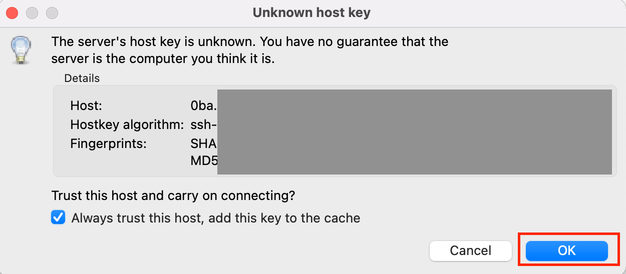 verify host and select OK