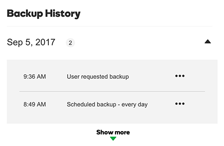 histórico de backup do managed wordpress