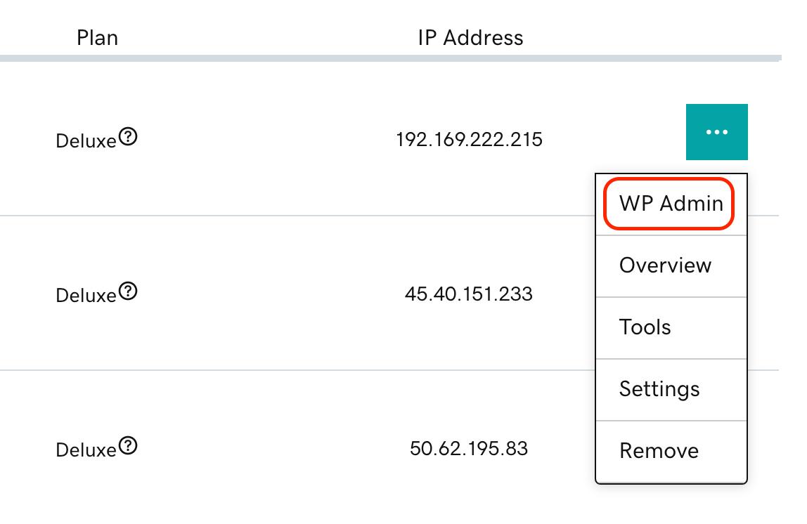 select wp-admin