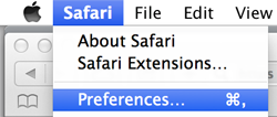 The Preferences option is highlighted in the Safari menu